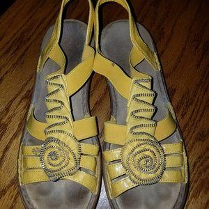 Yellow rieker sandals